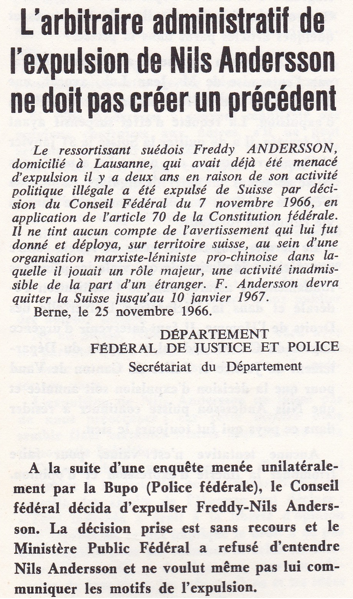 31 janvier 1967, je quitte la Suisse